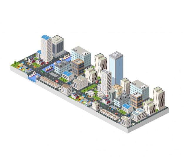 Grande ville isométrique avec des bâtiments, des bureaux et des gratte-ciel