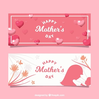 Grandes bannières avec des coeurs et des fleurs pour la fête des mères