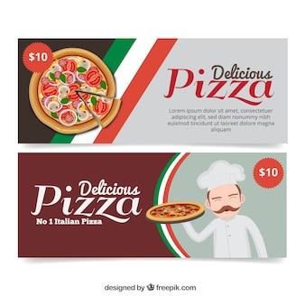Grandes bannières de délicieuses pizzas