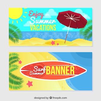 Grandes bannières d'été en conception plate