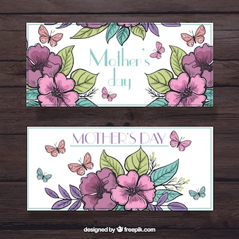Grandes bannières florales avec des papillons pour la fête des mères