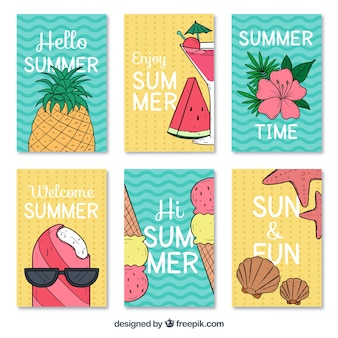 Grandes cartes d'été avec une variété de dessins