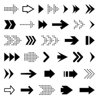 Grandes flèches noires définies icônes. icône de flèche. collection de flèches