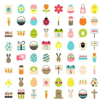 Grandes icônes de style plat de pâques sur blanc. ensemble d'icônes stylisées plat