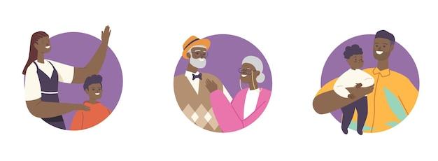 Grandes liaisons familiales africaines heureuses, relations amoureuses, père et mère à la peau noire étreignant les enfants, les grands-parents et les personnages d'enfants, illustration vectorielle de personnes de dessin animé, ensemble d'icônes rondes