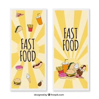 Grands bannières avec dessiné à la main fast food