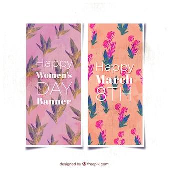 Grands bannières florales pour la journée des femmes