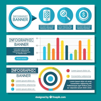 Grands bannières infographiques avec des graphiques