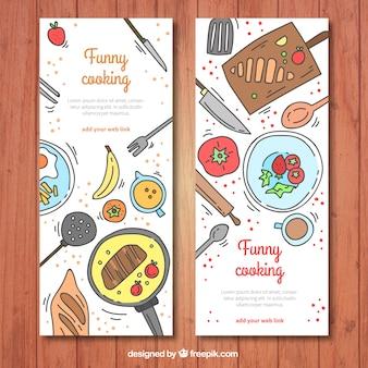 Grands bannières d'ingrédients colorés dessinés à la main
