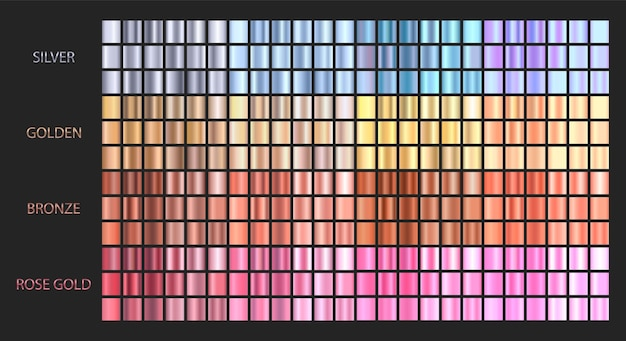 Grands dégradés métalliques. collection de couleurs dégradées.