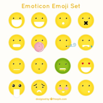 Grands émoticônes avec des gestes différents