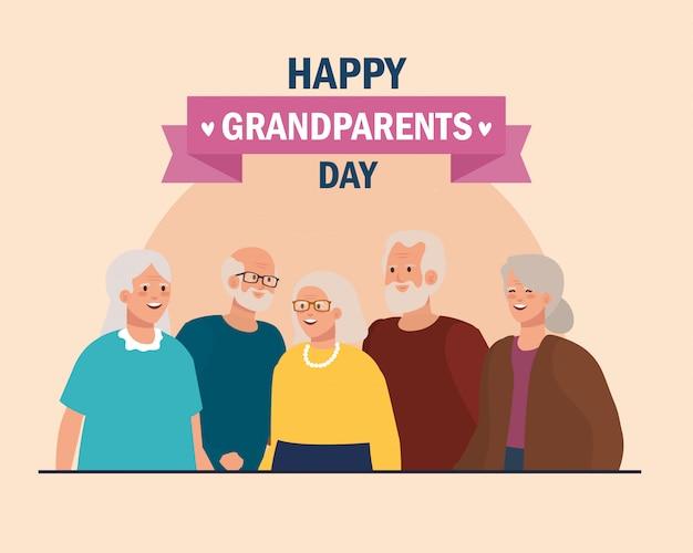 Grands-mères et grands-pères sur la conception de vecteur de jour de grands-parents heureux