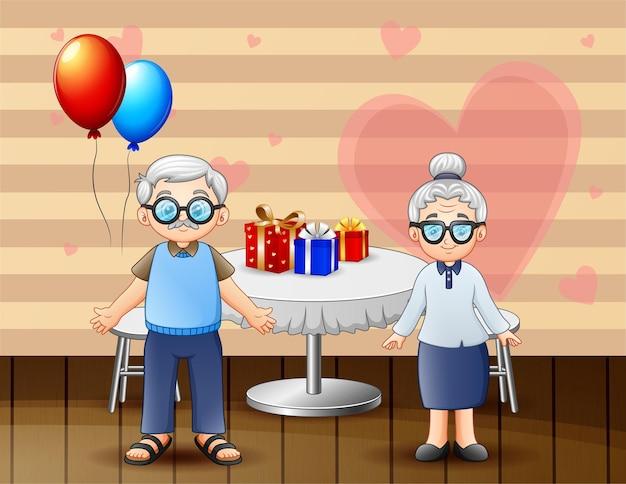 Grands-parents célébrant la saint-valentin