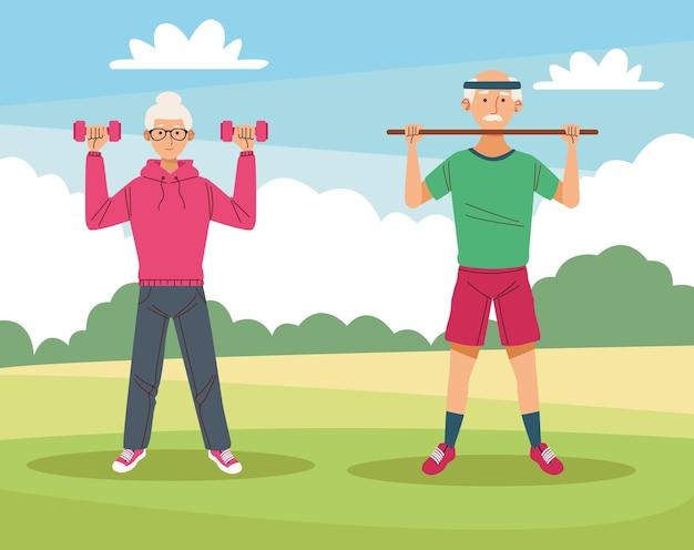 Grands-parents couple athlètes