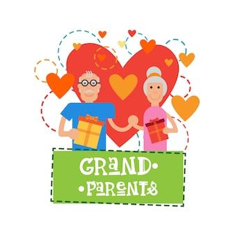 Grands-parents couple ensemble heureuse bannière de bannière carte de voeux jour grand-mère et grand-père
