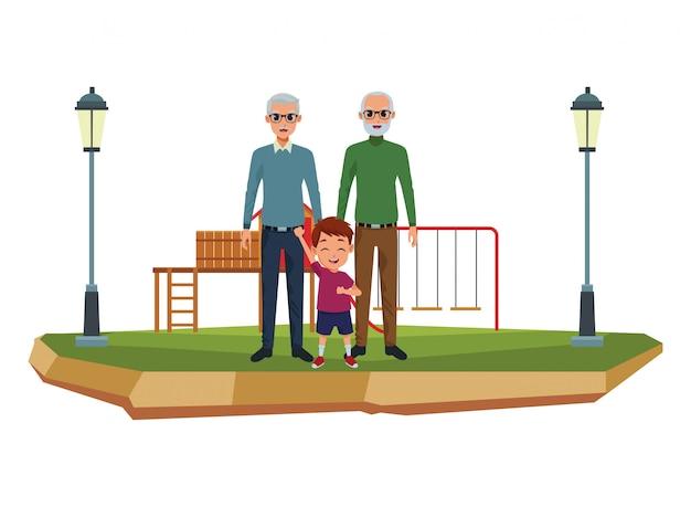 Grands-parents de famille et dessins animés de petit-fils