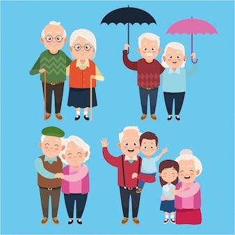 Grands-parents heureux mignons avec des personnages de petits enfants