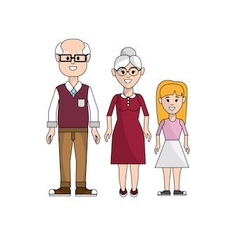 Grands-parents avec l'icône de leur petite-fille
