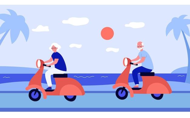 Grands-parents joyeux à cheval sur des scooters
