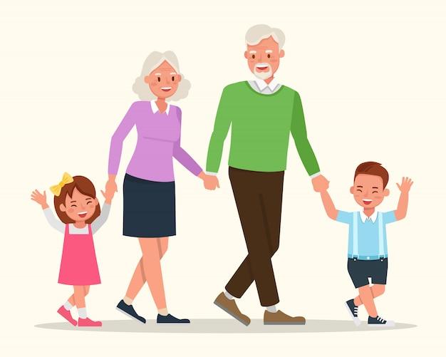 Grands-parents avec leur conception de vecteur de caractère petits-enfants.