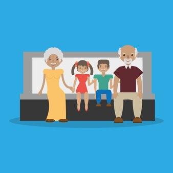 Grands-parents avec leurs petits-enfants s'asseoir adorable