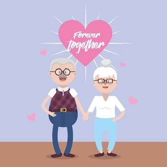 Les grands-parents avec des lunettes et une coiffure