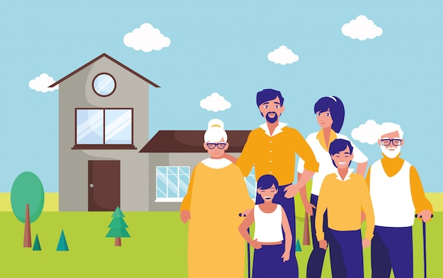 Grands-parents parents et enfants devant la maison