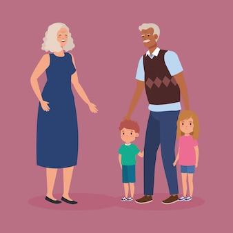 Les grands-parents avec le personnage d'avatar de petits-enfants