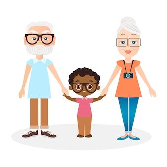 Grands-parents avec petit-fils.