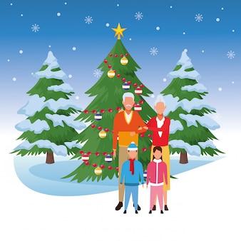 Grands-parents et petits-enfants devant l'arbre de noël