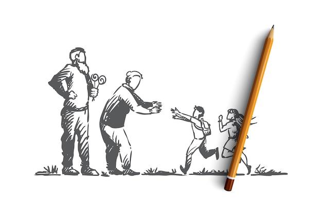 Grands-parents, petits-enfants, famille, concept de génération. main dessinée heureuse grande famille avec croquis de concept grand-mère et grand-père.