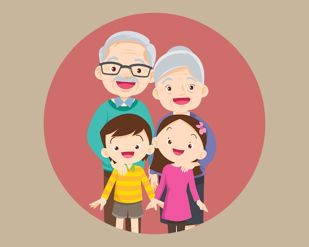 Grands-parents avec petits-enfants