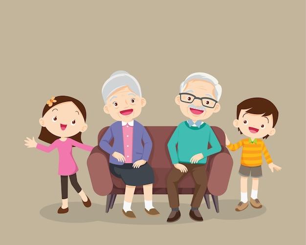 Grands-parents et petits-enfants.