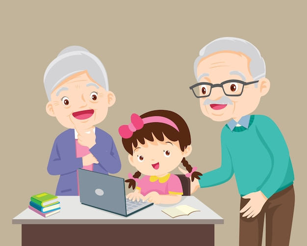Les grands-parents soient heureux pour quelque chose d'enfants fille utilisant un ordinateur portable
