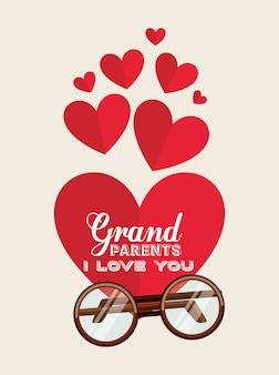 Les grands-parents vous aiment les cœurs