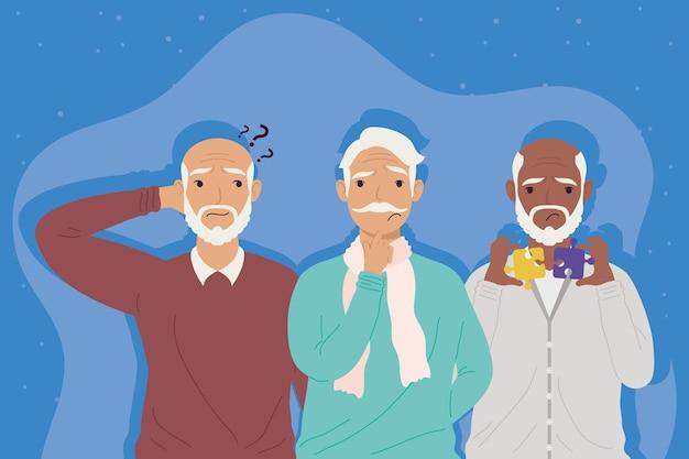 Grands-pères atteints de la maladie d'alzheimer
