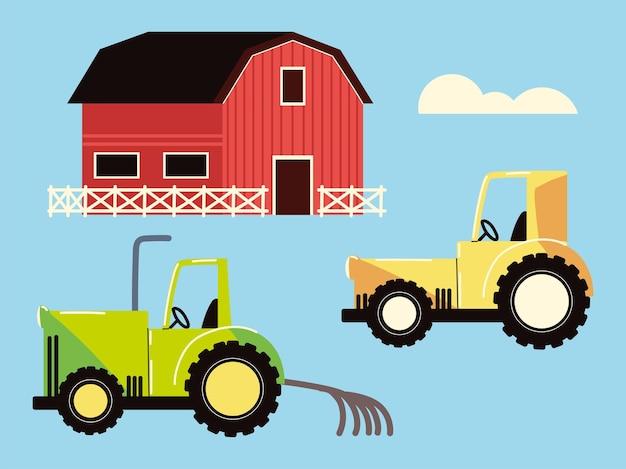 Grange agricole et tracteur