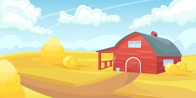 Grange américaine rouge rétro dans un domaine agricole. agriculture, récolte. l'agriculture de subsistance.