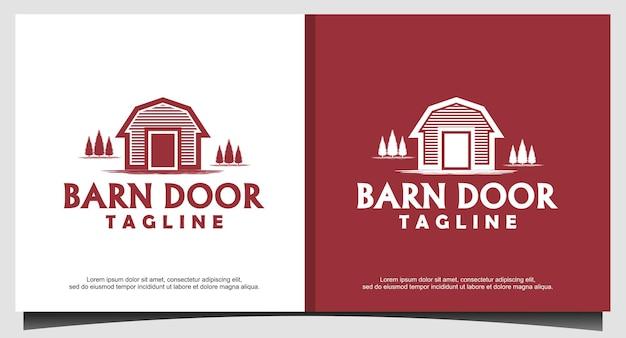 Grange en bois ferme minimaliste vintage retro line art logo design inspiration