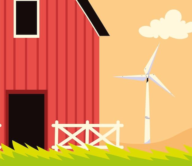 Grange de ferme et éolienne