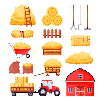Grange de ferme, tracteur, clôture, fourche, râteau, brouette isolé sur blanc