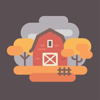 Grange rouge avec des arbres de l'automne. automne campagne paysage fond plat illustration