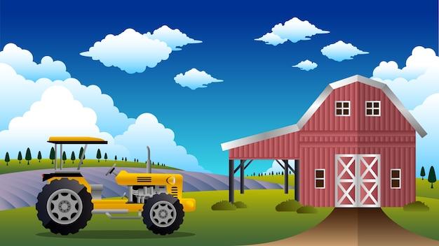 Grange avec tracteur donnant sur les champs ouverts