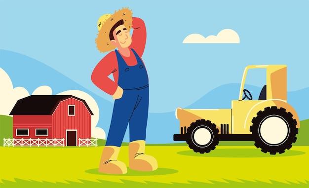 Grange et tracteur de fermier
