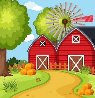 Granges dans la cour de la ferme