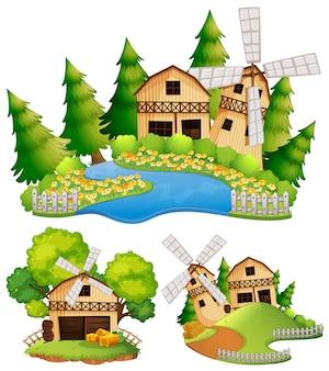 Granges et moulin à vent dans la ferme