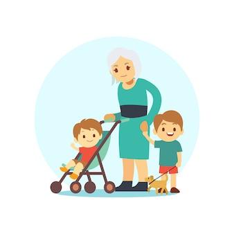 Grangma marchant avec petits-fils et chien