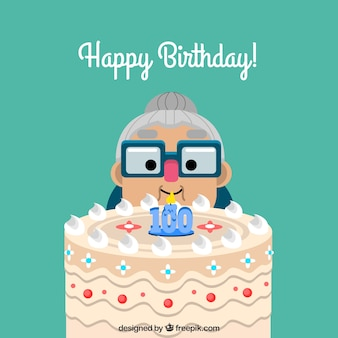 Granny background with cake and hundredth birthday candle