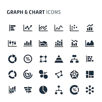 Graph & chart icon set. série d'icônes fillio black.