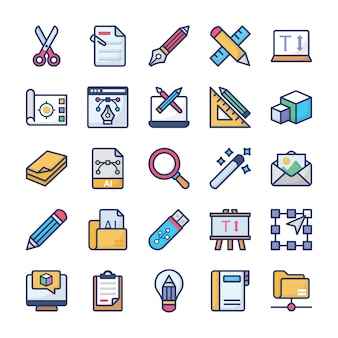 Graphics designing icons set